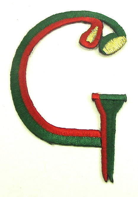"Golf Tee and Club ""G"" with Green and Red Embroidered 3.25"" x 2.25"""