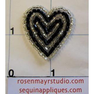 Heart Black and White Beaded  1""