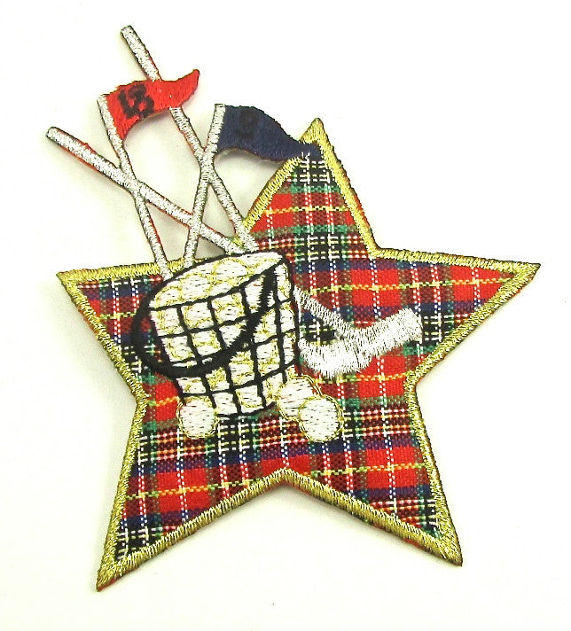 "Golf Motif with Plaid Star 4"" x 3.5"""