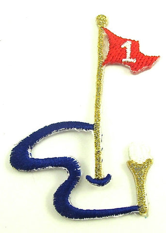 "Golf Hole In One Iron-On Applique 2"" x 1.25"""