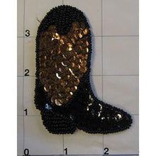 "Load image into Gallery viewer, Cowboy Boot Black and Bronze Sequin Beaded 3"" x 2.25"""
