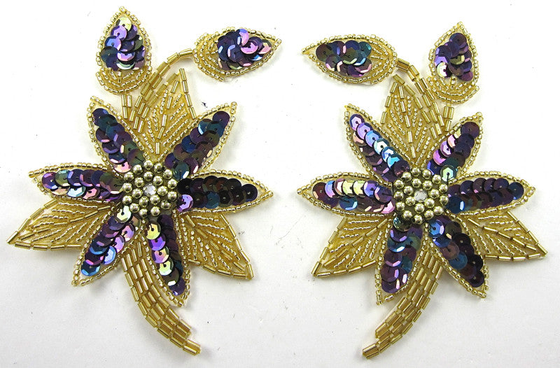 "Flower Pair Moonlight Sequins and Gold Beads 5"" x 3.5"""