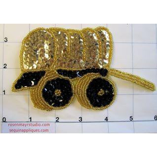 "Country Black & Gold Sequins with Gold Beads Covered Wagon 3"" x 5.5"""
