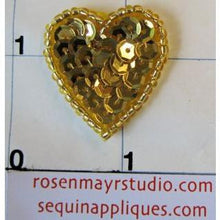 Load image into Gallery viewer, Heart with Gold Sequins and Beads 1""