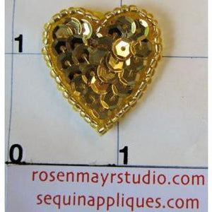 Heart with Gold Sequins and Beads 1""