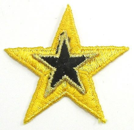 Star Yellow with Black Embroidered Iron-On