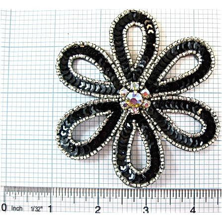 "Flower with Black Sequins and AB Rhinestones Silver Beads 4"" x 3.5"""