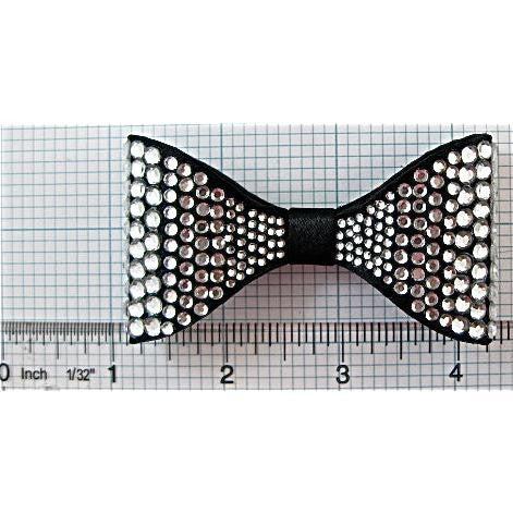 "Bow Black Satin with Crystals 1.75"" x 3.25"" x .5"" depth"