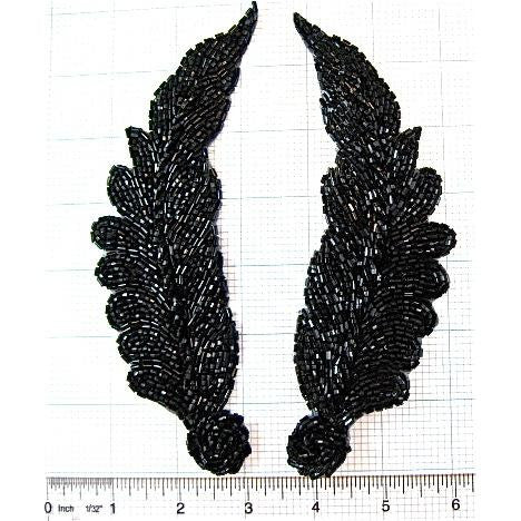 "Leaf Pair with Black Beads  7"" x 3"""