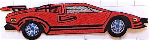 Farrari Car Sports Red Embroidered 8.75""