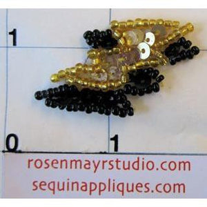Double Lightning Bolt with Gold and Black Sequins and Beads 1.5""