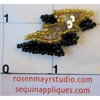 Double Lightning Bolt with Gold and Black Sequins and Beads 1.5