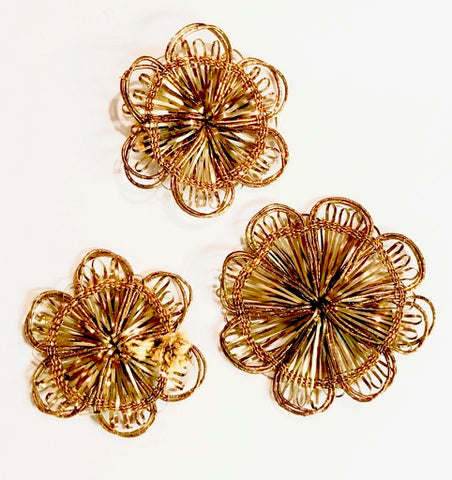 "10 pack Assorted Flower Dark Bronze India Bullion Thread 2"", 1.7/8"", 1.5"""