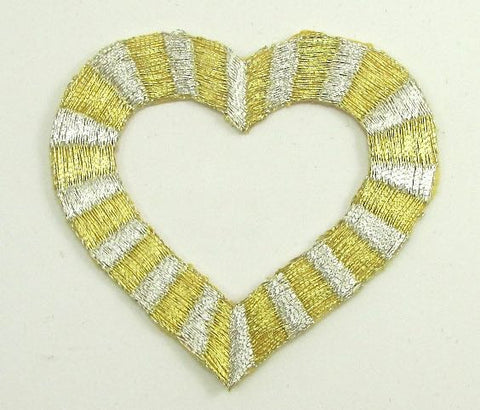 "Heart Gold and Silver Metallic Embroidered Iron-On 2.5"" x 2.5"""