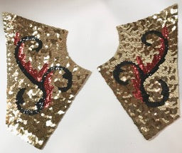 Costume Set of Five with Red, Black and gold sequins and Beads