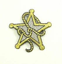 "Load image into Gallery viewer, Country Sheriff Badge with Rope Gold Metallic Embroidered Iron-On 2.5"" x 2.5"""