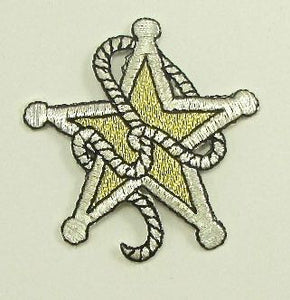 "Country Sheriff Badge with Rope Gold Metallic Embroidered Iron-On 2.5"" x 2.5"""