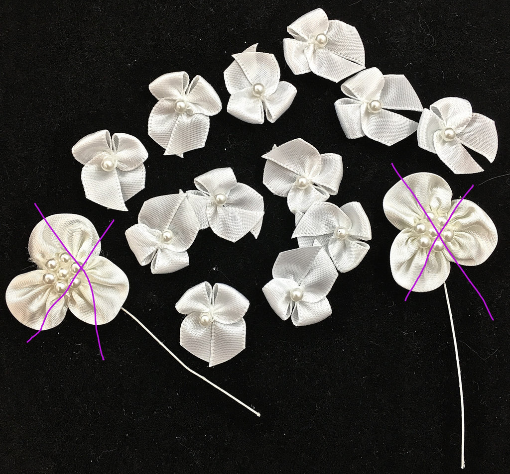 Flower and Bow assortment White Satin with Beads 1""
