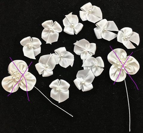 Assortment of Bows White Satin with Beads 1""