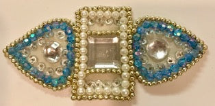 "Designer Motif with Turquoise Sequins and White and Gold Beads 6"" x 2.5"""