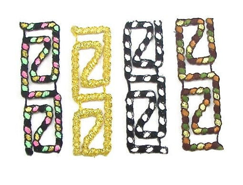 "Designer Motif Rope Mulit-Colored Assortment Embroidered Iron-On 3"" x 1"""