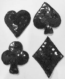 "Card Set all Black Sequins 3.5"" Last One"