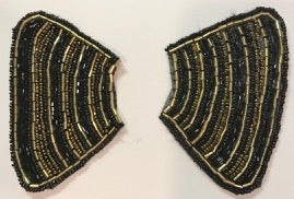 "Designer Motif Pair with Gold and Black Beads 4"" x 2.5"""