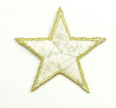 Star White with Silver Edges Embroidered Iron-On 1.75""