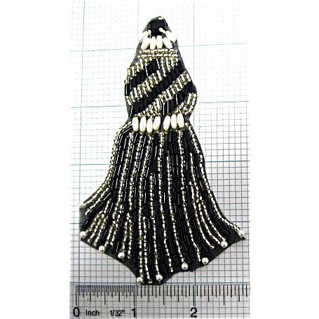 "Designer Motif Tassle with Black and Silver Beads 4.5"" x 3"""