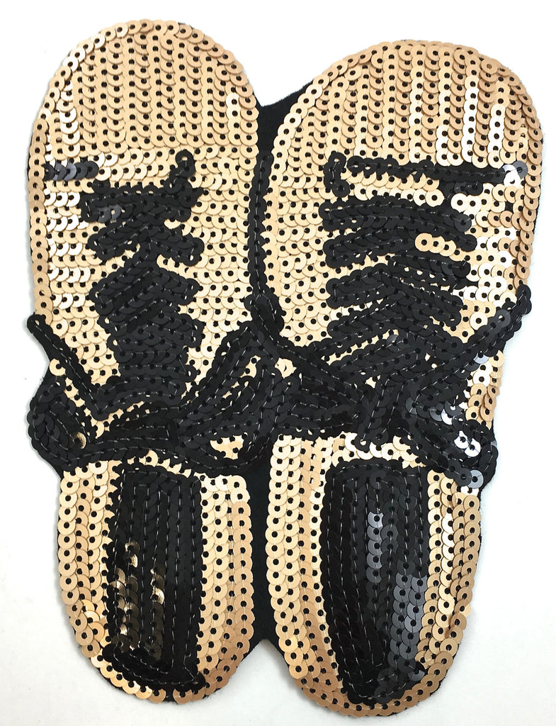 "Shoe Applique with Beige and Black Sequins 5.5"" x 7.5"""