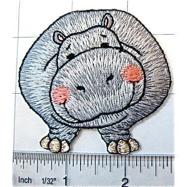 "Hippo Smiling, Grey with Rosey Cheeks Embroidered Iron-on 3"" x 2.5"""
