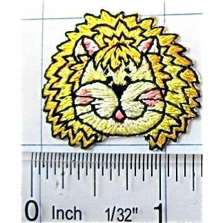 "Lion Face Smiling Yellow Embroidered Iron-On 1.25"" x 1"""