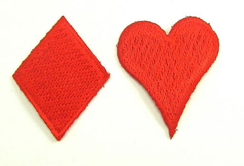 Card Suit Diamond, Heart, Red Embroidered Iron-On 1.5""