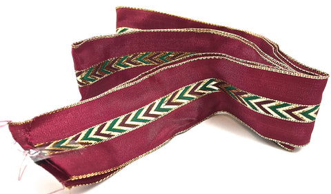 "Ribbon with Maroon and Metallic Red Gold Green Thread 48"" x 1.5"""