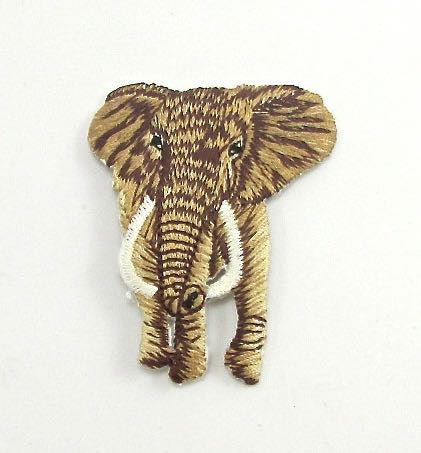 "Elephant, Brown with Dark Brown Stripes Embroidered Iron-On 2"" x 2.25"""