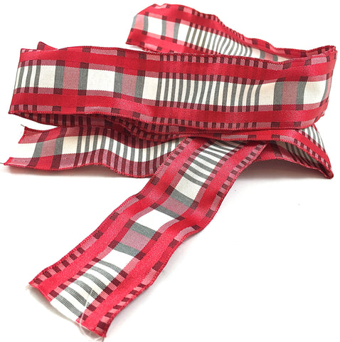 "Ribbon Trim Remnant with Red Plaid Design 48"" Remnant 55"" x 1.5"" Wide"