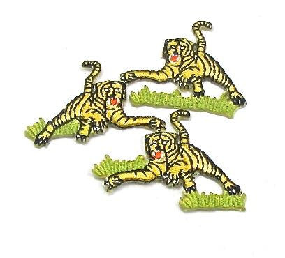 "Checked - Tigers in Grass, Set of 3 Embroidered Iron-On 1.5"" x 1"""