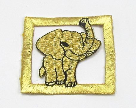 "Elephant, Gold and Black with Metallic Gold Frame, embroidered Iron-On 2.5"" x 2.25"""
