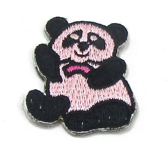 "Panda Bear, Black and Pink Embroiderd Iron-On 1.5"" x 1"""