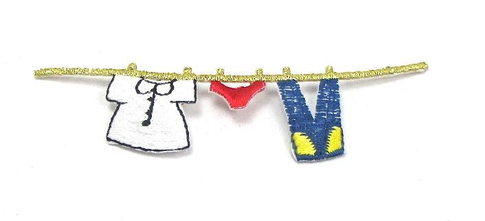"Set of 10 Clothesline, Multi-Colored with Jeans, Shirt, Underware Embroidered Iron-On  3.75"" x 1/2"""