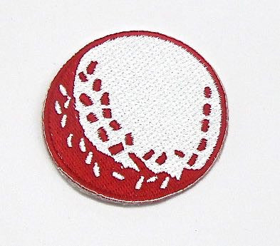 Dodgeball, Red and White Embroidered Iron-On 2""