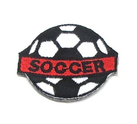 "Soccer Ball with Word ""Soccer"" Embroidered Iron-On 2"" x 1.5"""
