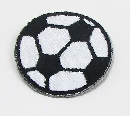 Soccar Ball, Black and White  Embroidered Iron-On 1.5""