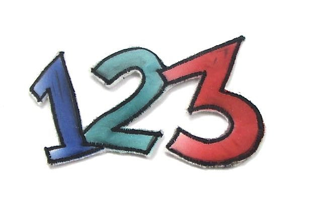 "Numbers 1, 2, 3 mulit-Colored Embroidered Iron-On  3.5"" x 2.25"""