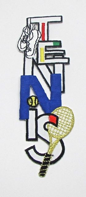 "Word Tennis Vertical with Tennis Gear, Multi-Colored, Embroidered Iron-On  6"" x 1.75"""