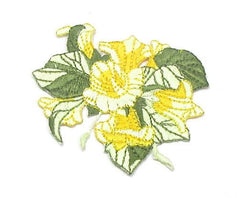 "Flowers, Two-Tone Yellow with Two-Tone Green Leaves, Embroidred Iron-On  2.75"" x 2.5"""