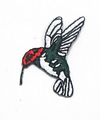 Hummingbird Red Face with Green and Silver body, Embroidered Iron-On  1.5 x 1""