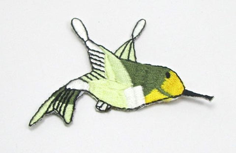 "Hummingbird, Yellow Face with Green and White Body, Embroidered Iron-On 2.5"" x 2.5"""