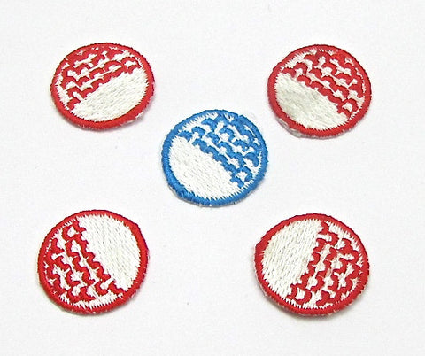 Golf Ball Assortment, Red and Blue Embroidered Iron-On  .75""