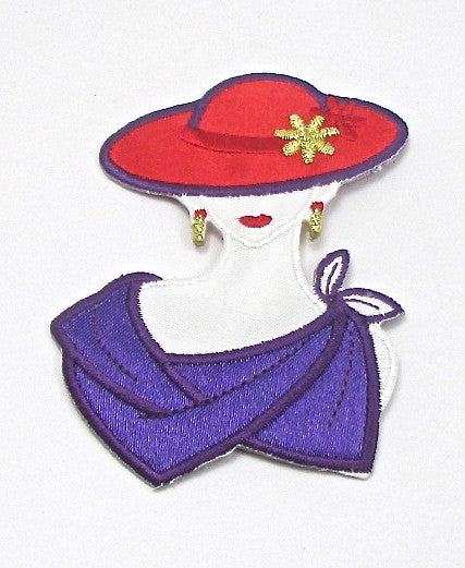 "Red Hat Lady with Purple Scarf Embroidered 3"" x 2.25"""
